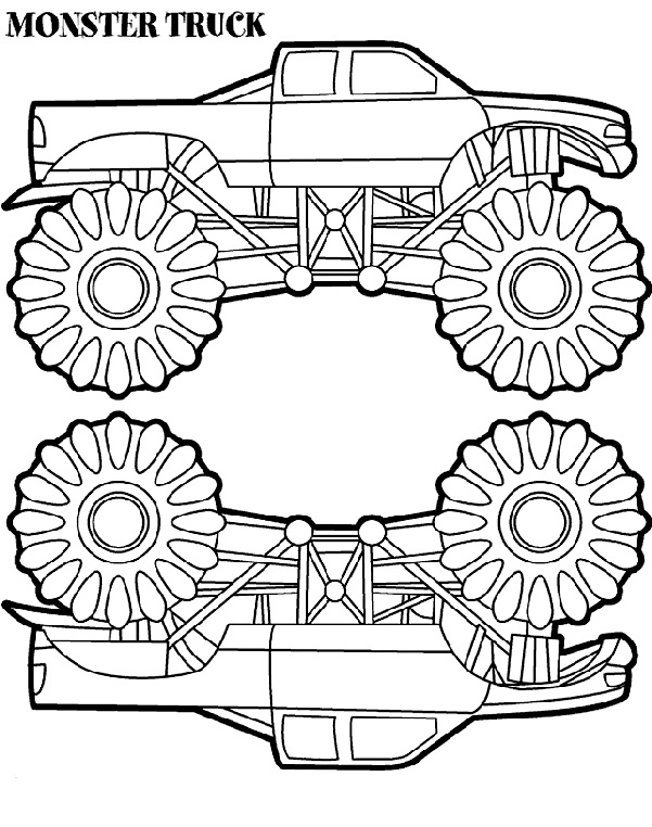 Two Monster Truck Coloring Page