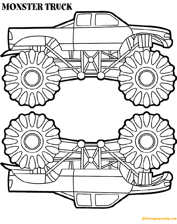 two monster truck coloring page - Monster Truck Coloring Pages Free