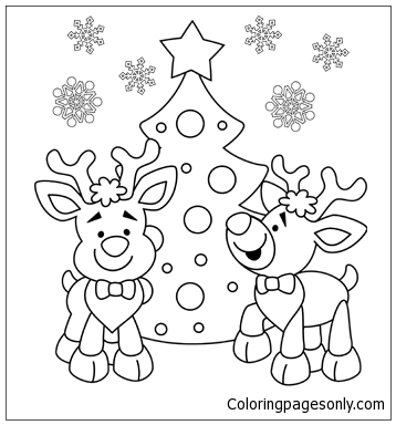 Two Reindeer Next To The Christmas Tree Coloring Page