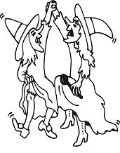 Two Witches Dancing Coloring Page