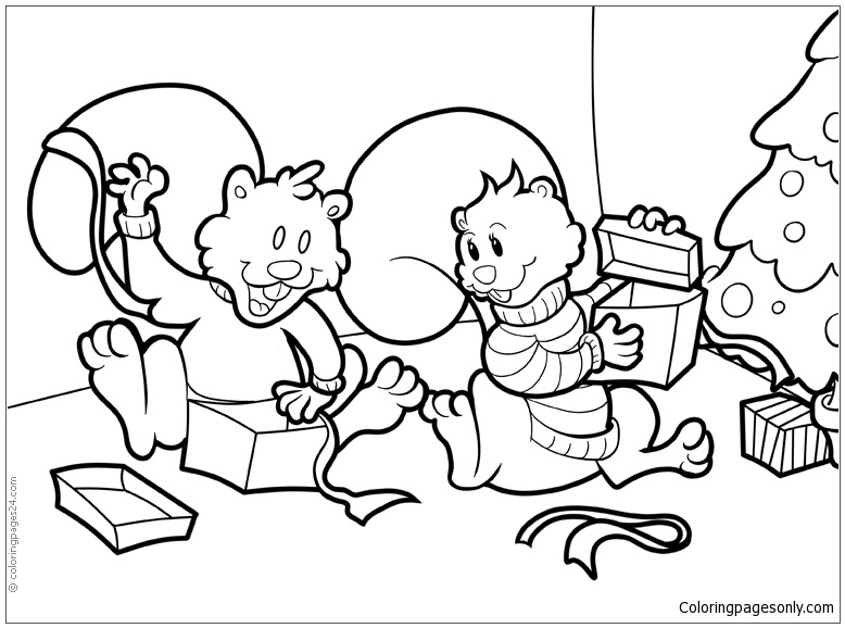 Two Wonderful Dogs Open Christmas Presents Coloring Page