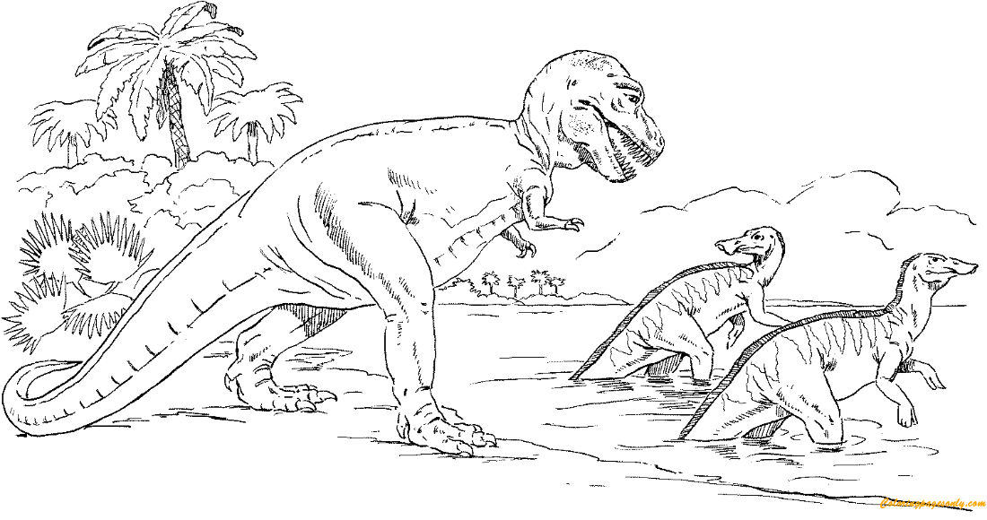 Tyrannosaurus Chasing Trachodons Coloring Page