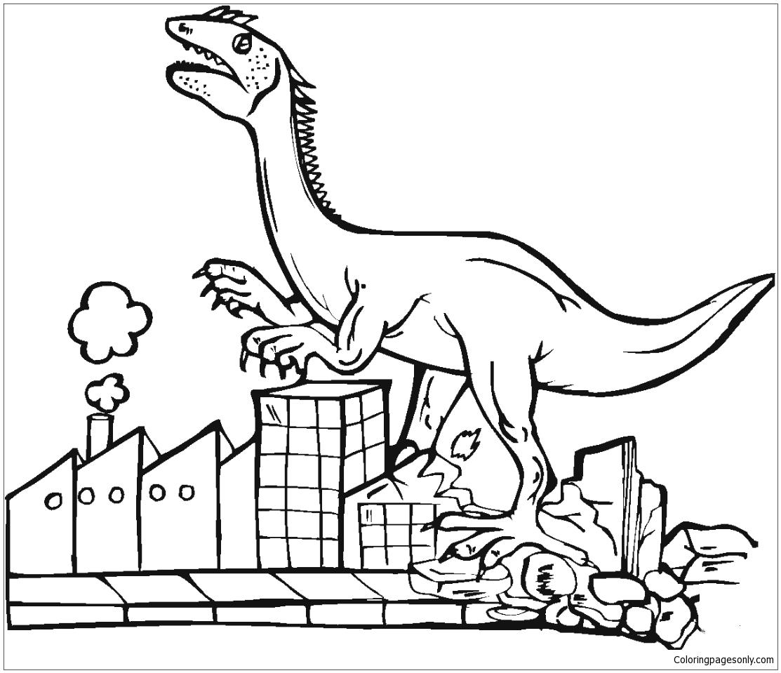 Tyrannosaurus Destroys City Coloring Page