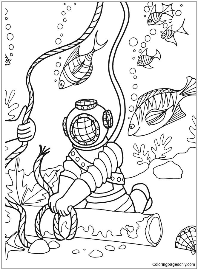 Under The Sea Adventure Coloring Page