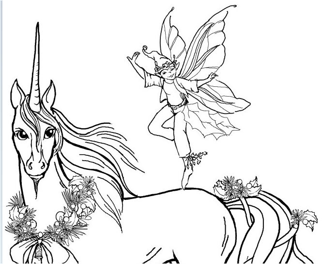 Unicorn and Prince Coloring Page