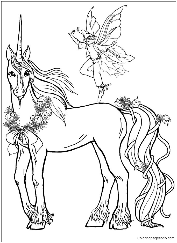 Unicorn and Prince Coloring Pages