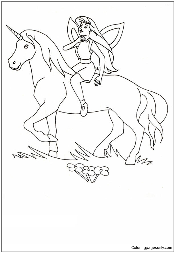 Unicorn and Princess Coloring Page - Free Coloring Pages ...