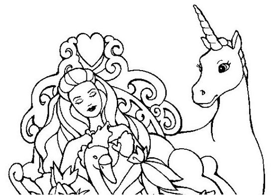 Unicorn and Queen Coloring Page