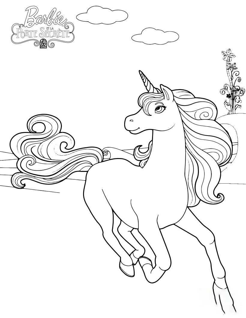 Barbie Unicorn Coloring Page