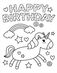 Unicorn Birthday Coloring Page
