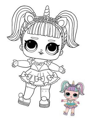 Unicorn Cat Doll Coloring Page
