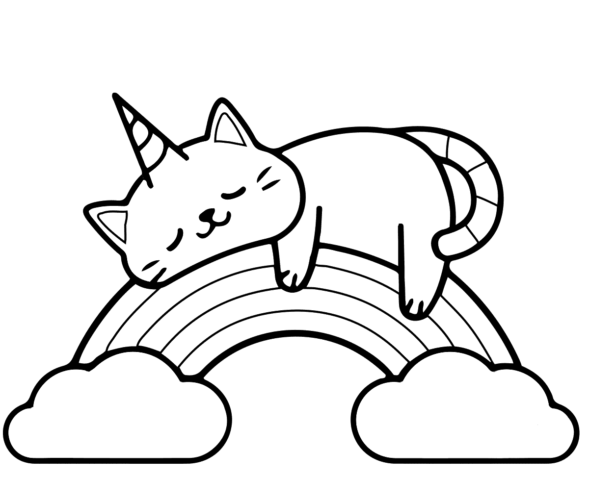 Unicorn cat lies on the rainbow Coloring Page