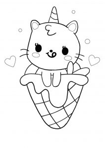 Unicorn cat mermaid with ice cream Coloring Page