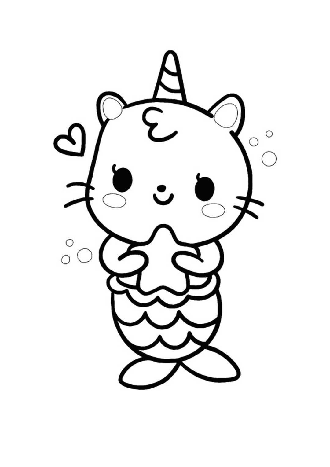 Unicorn Cat Mermaid Coloring Page