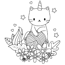Unicorn cat with flowers Coloring Page