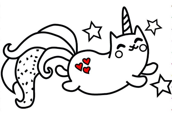 Unicorn cat with hearts Coloring Page