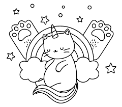 Unicorn cat with rainbow pillow Coloring Page