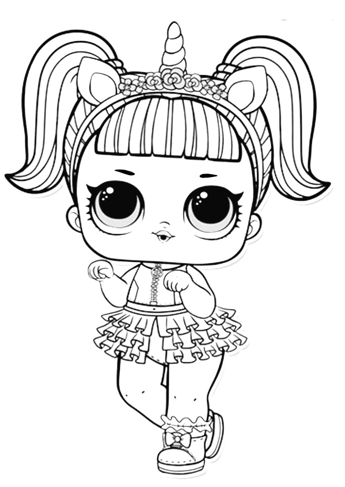 Lol Suprise Doll Unicorn Girl Coloring Page