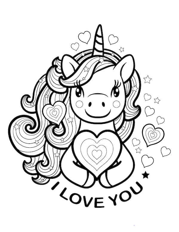 Unicorn I love you Coloring Page