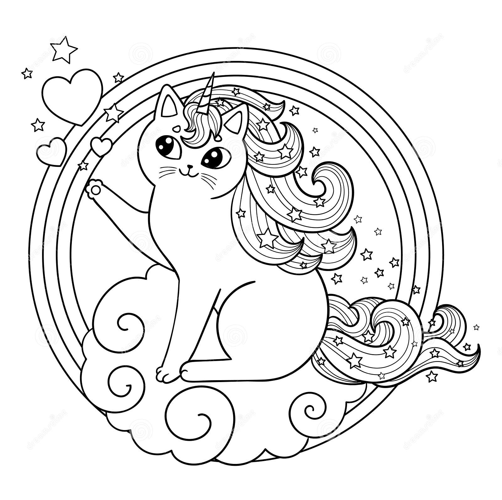 Unicorn Kitten cloud frame Coloring Page