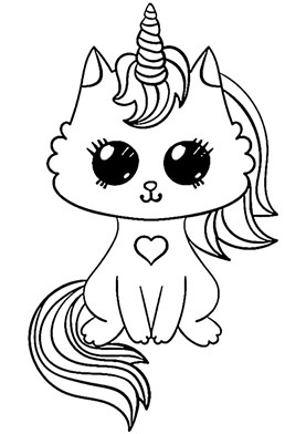 Unicorn Kitty Cat Coloring Page