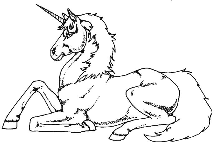 Unicorn Lying Down Coloring Page