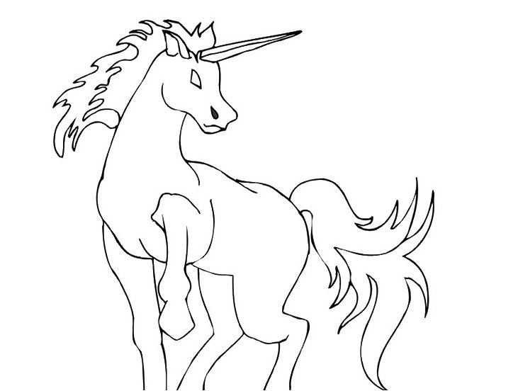Unicorn on Rocks Coloring Page