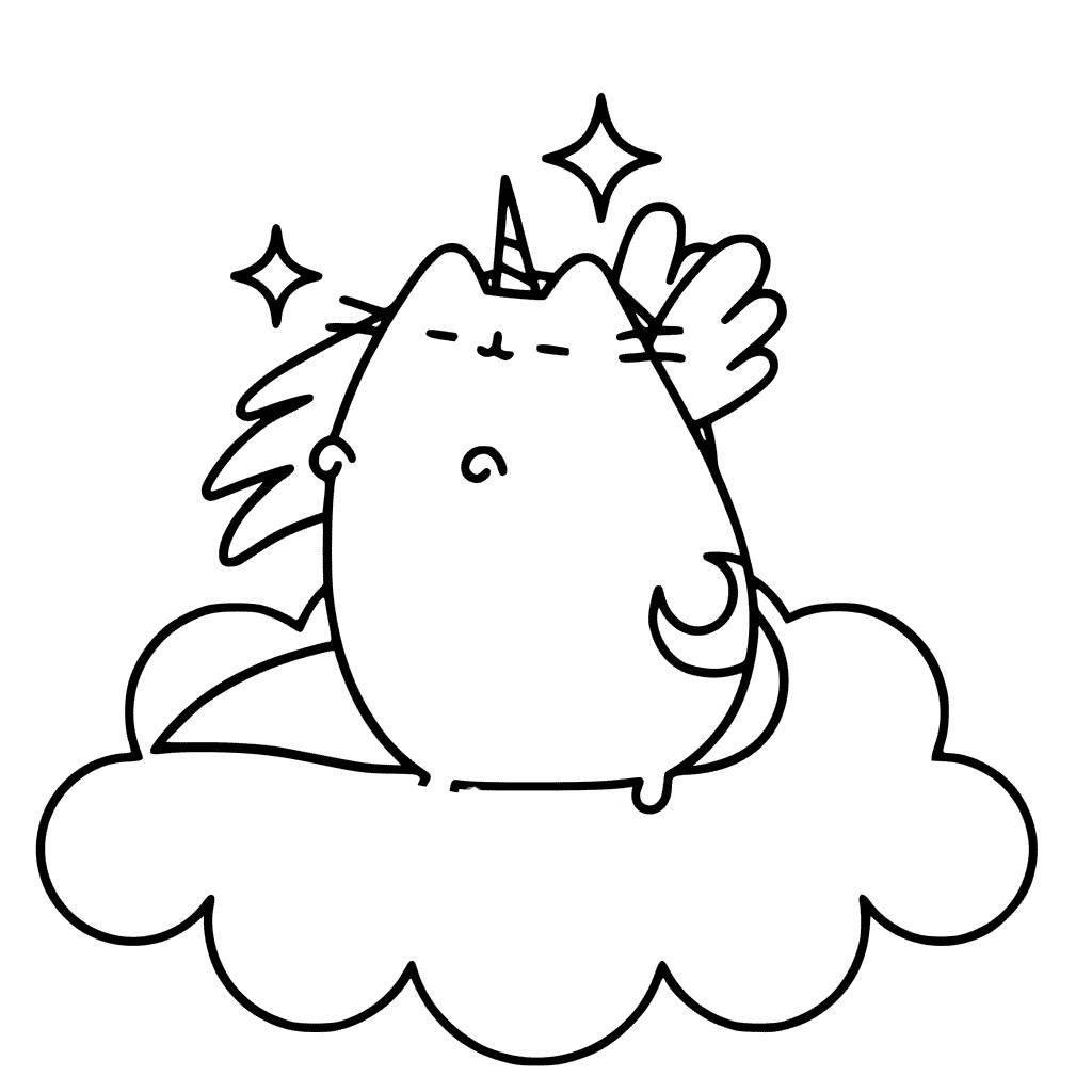 Unicorn Pusheen Pegasus Coloring Page