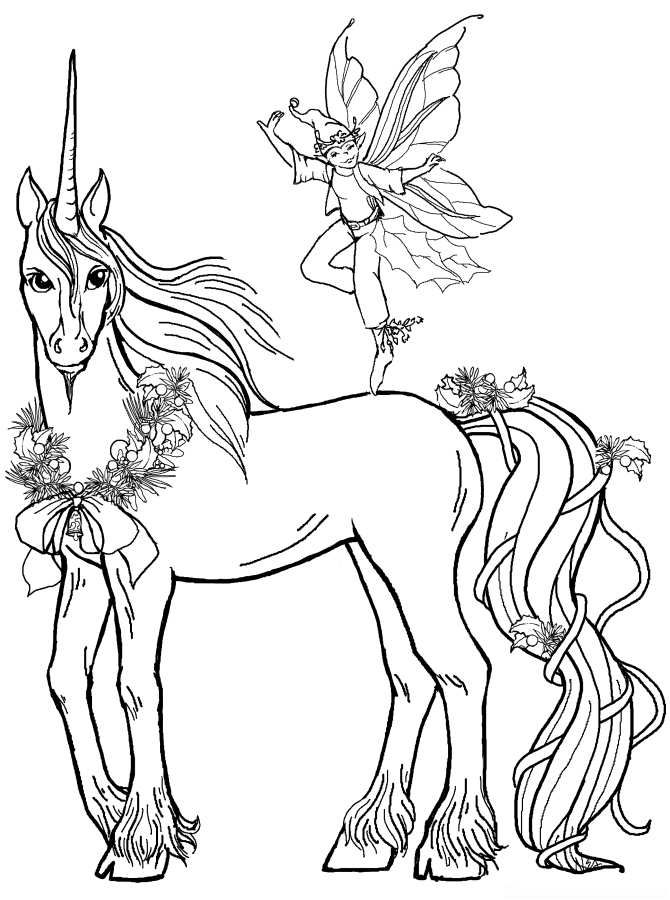 Unicorn wears ribbon Coloring Page