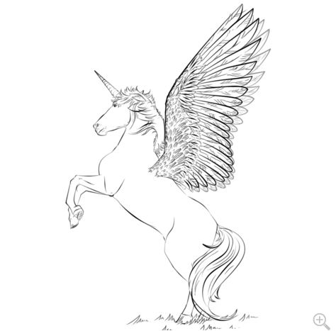 Unicorn With Wings Coloring Page