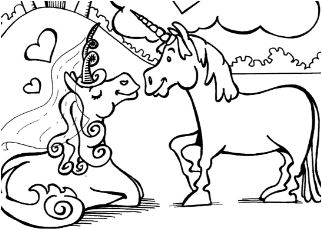 Unicorns in Love Coloring Page