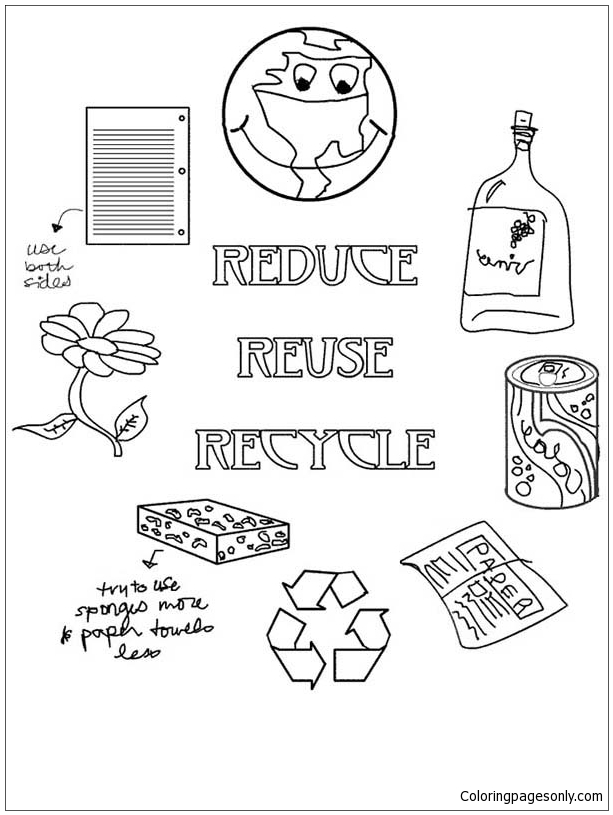 Using Waste For Recycling Coloring