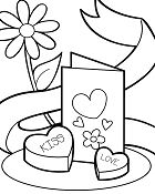 Valentines Card And Chocolates Coloring Page