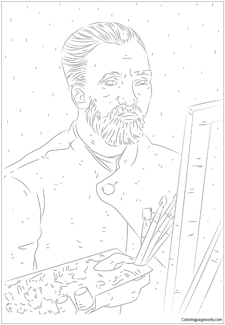 Van Gogh Self Portrait 1 Coloring