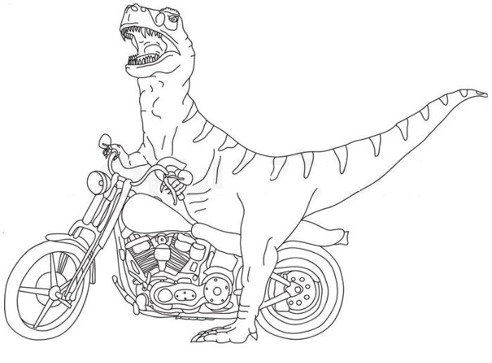 Vector Big T Rex on Motorbike