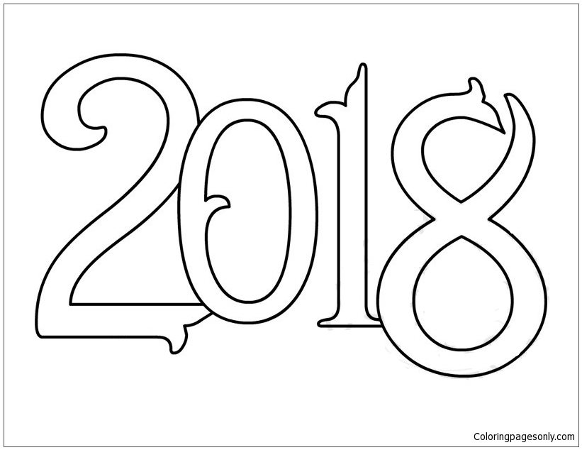 Vector New Year 2018 Coloring Page