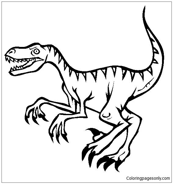 Velociraptor Dinosaur 3 Coloring Page