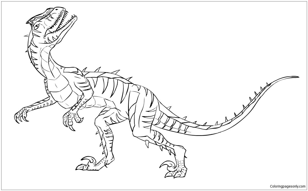 Velociraptor Dinosaur 4 Coloring Page