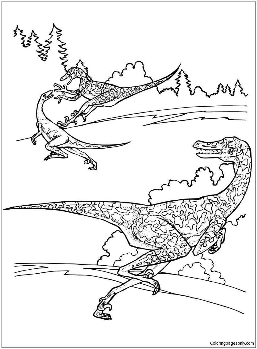Velociraptor From Dinosaurs Coloring Page