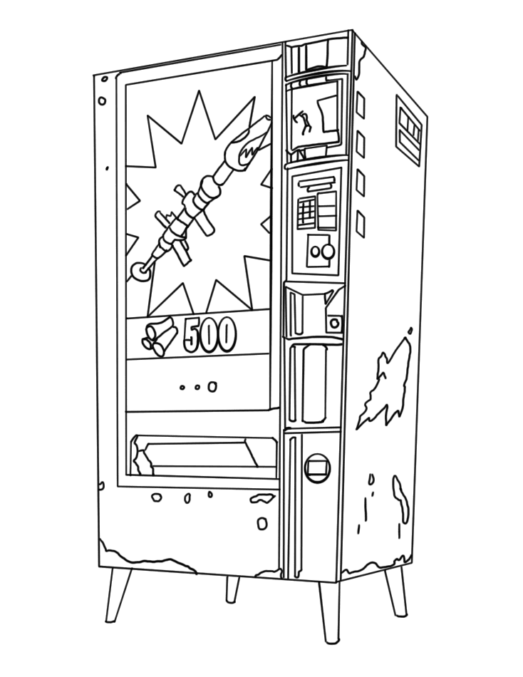Vending Machine in Fortnite allowed players to obtain a displayed weapon or consumable Coloring Page