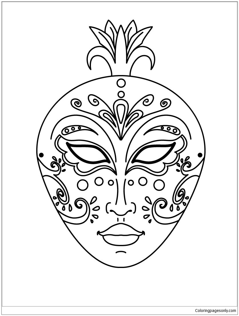 Venice Mask Coloring Page