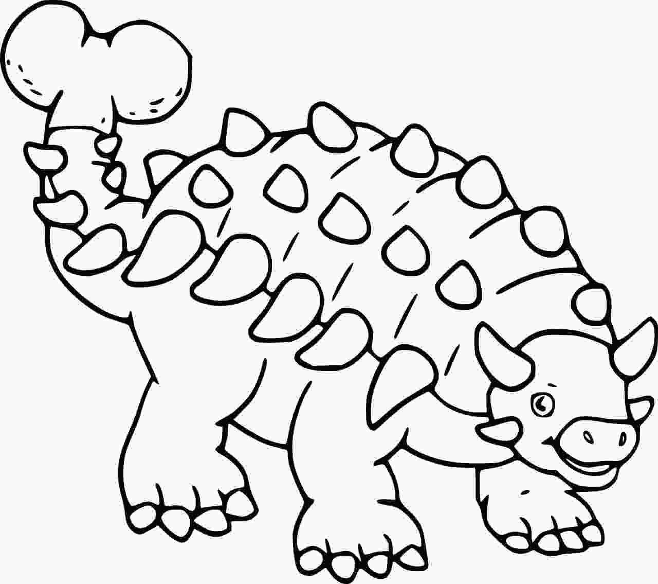 Very Easy Ankylosaurus Dinosaur Coloring Page