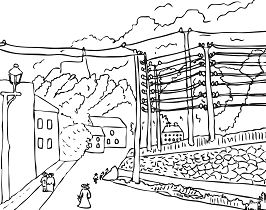 View Of Malakoff, Paris Region By Henri Rousseau Coloring Page