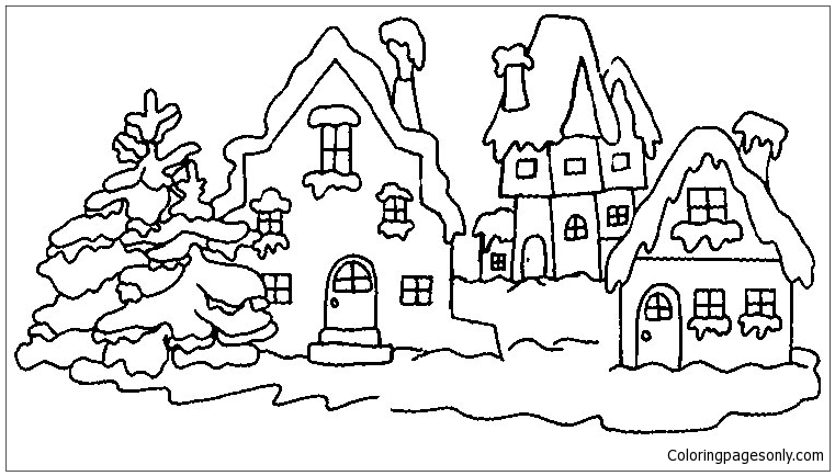 Village In Winter 1 Coloring Page