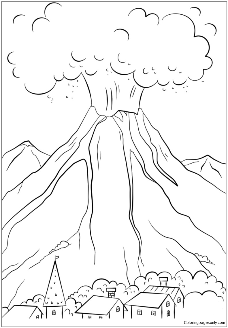 Volcanic Eruption Coloring Page