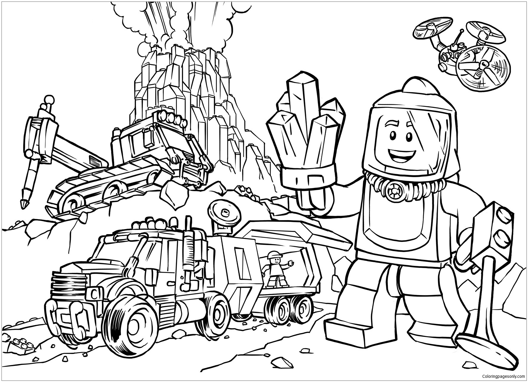 Volcano Explorers Lego Coloring Page Free Coloring Pages