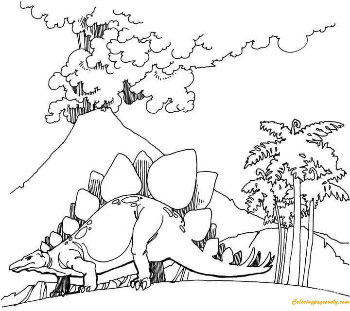 Volcano Goes Mad From Dinosaurs Coloring Page
