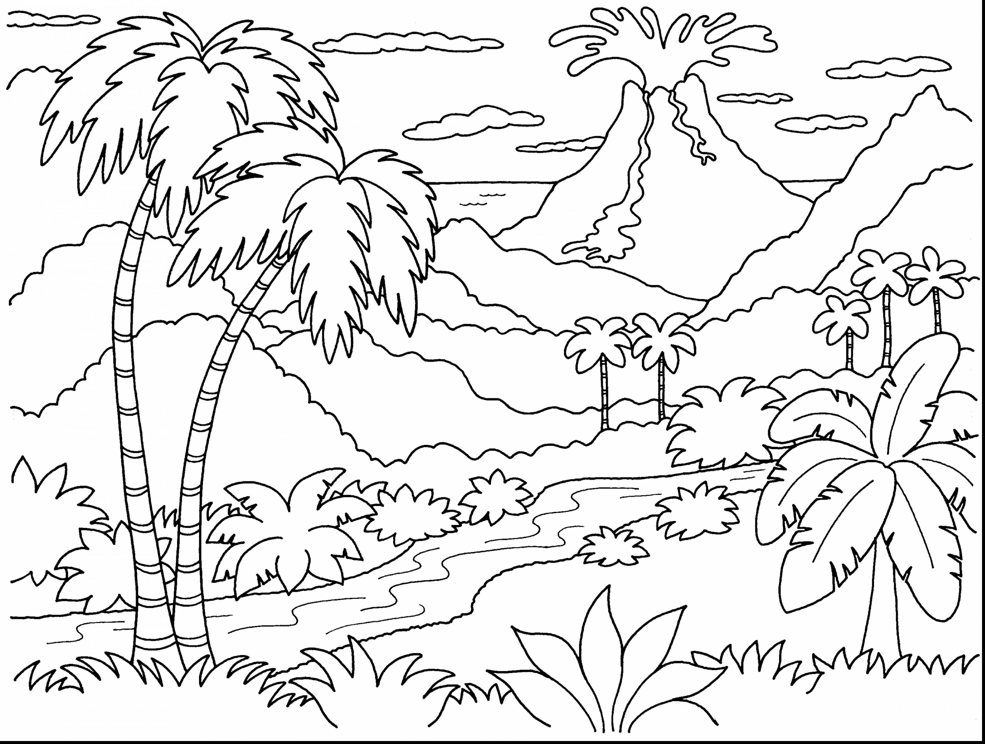 Volcano in the forest Coloring Page