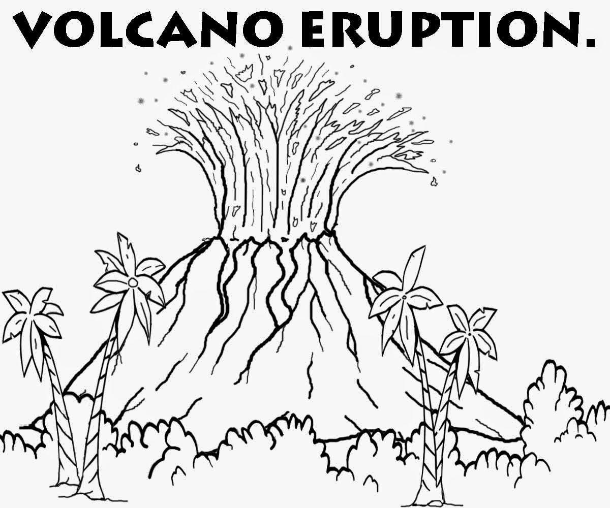 Volcanoeruption Coloring Page
