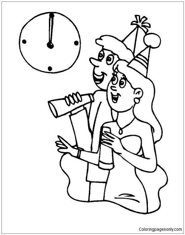 Waiting For New Years  Coloring Page